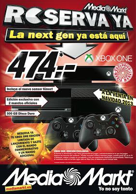Los 1000 primeros en reservar la consola Xbox ONE en Mediamarkt la podrán conseguir por 474€ y con un mando adicional.