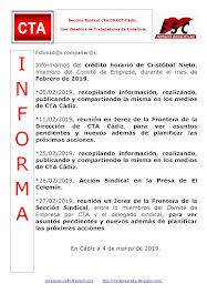 C.T.A. INFORMA CRÉDITO HORARIO CRISTOBAL NIETO, FEBRERO 2019