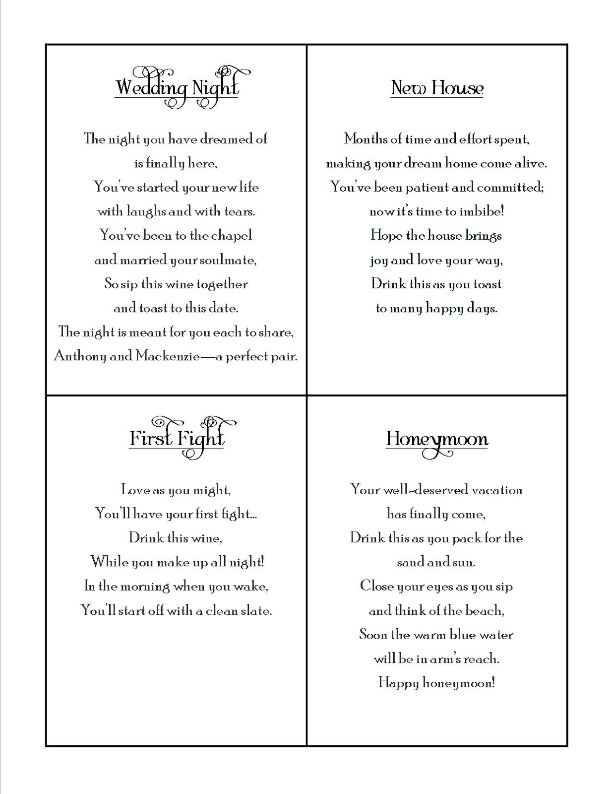 Wedding Shower Poems For Gift Cards : Bridal Party Poems quotes.lol-rofl.com