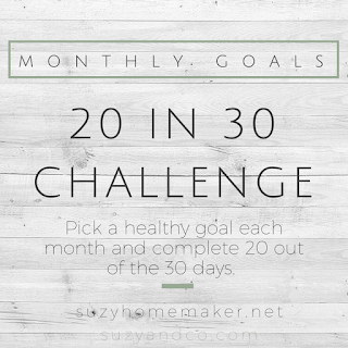 the 20 in 30 monthly goal challenge | suzyhomemaker.net