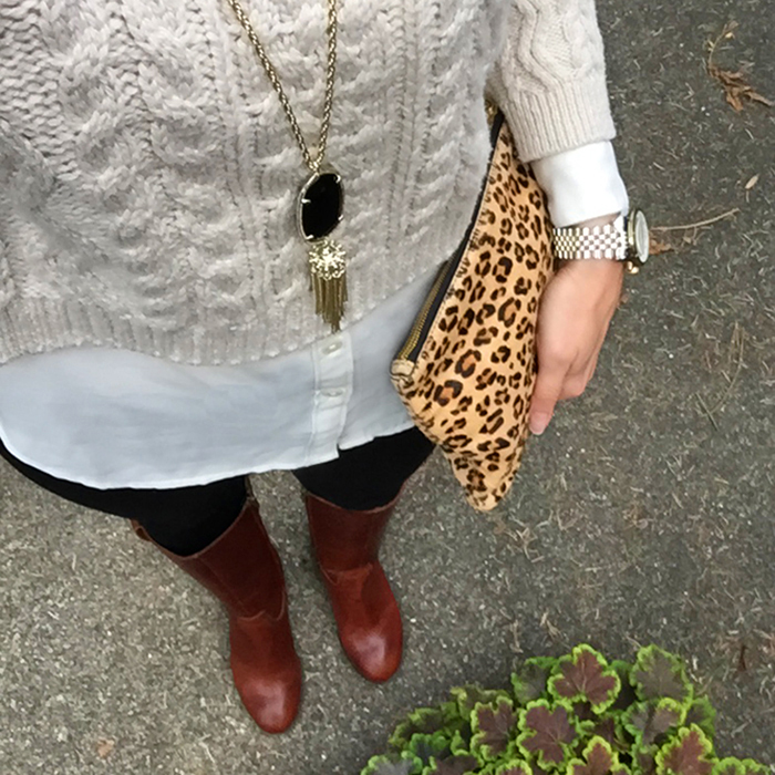 leopard clutch, riding boots, fall style