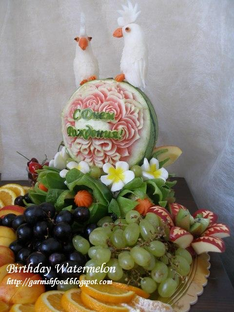 happy birthday fruit display with garnishes