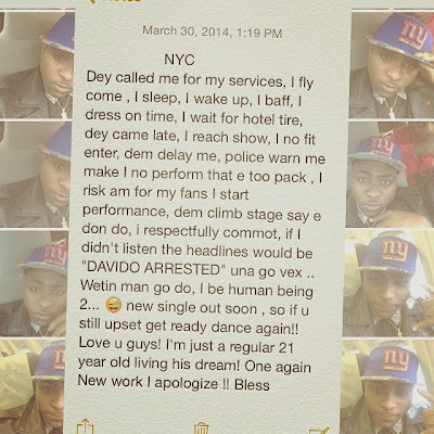 davido apology to New york fan