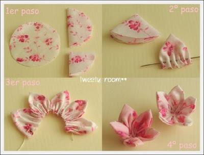 Manualidades faciles flores de tela
