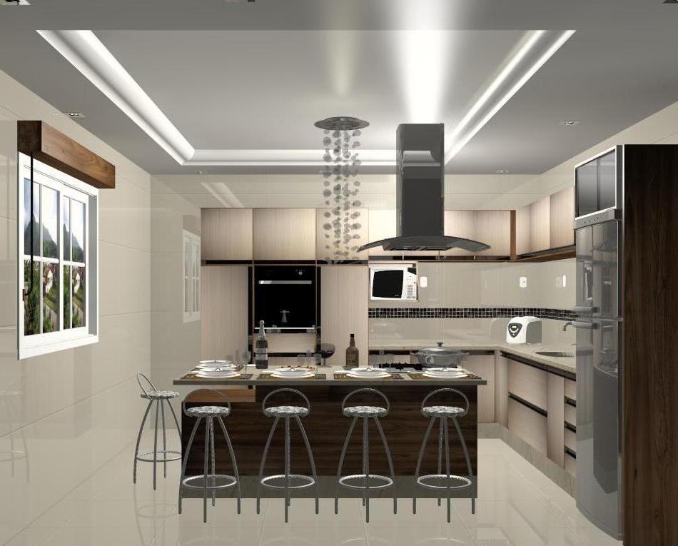 Espa 231 O Nobre Design Cozinha C Ilha Vanilla Nogueira Boreal