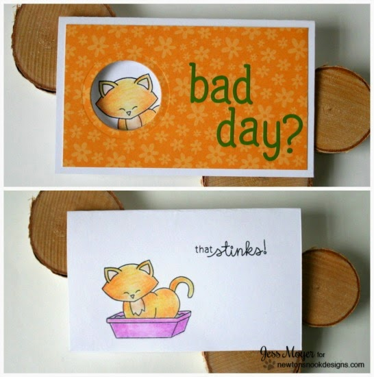 Litter Box Stinky Cat Card by Jess Moyer | Naughty Newton Stamp set by Newton's Nook Designs