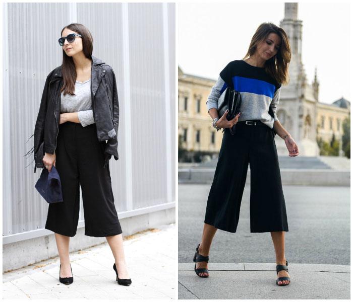 Pantalones culotte negros como combinarlos la bocoque fashion bloggers