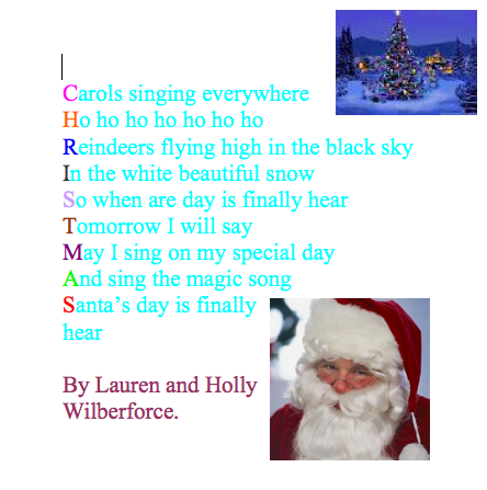 4JD Howes: Christmas Acrostic Poetry