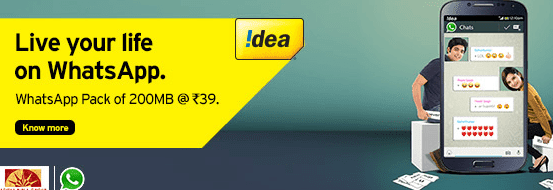 idea whats app activation Rs.39 Andhra pradesh up east west