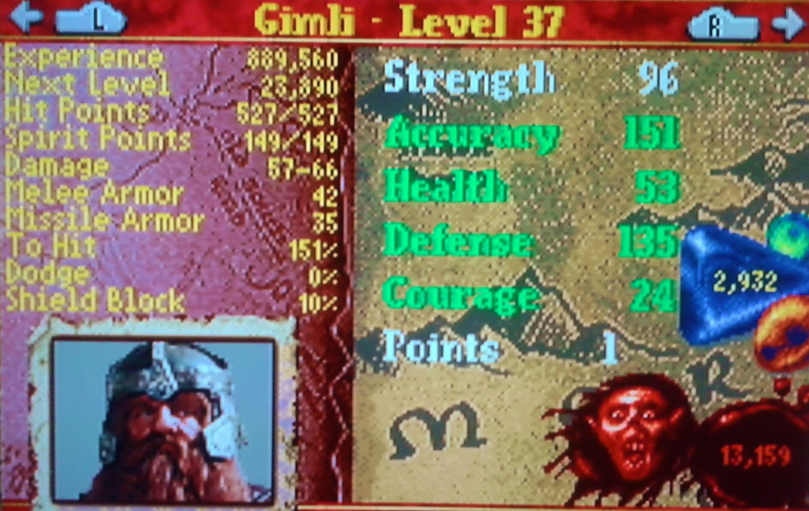 Status screen from Lords of the Rings on Gameboy Advance. It shows the attributes of Gimli.
