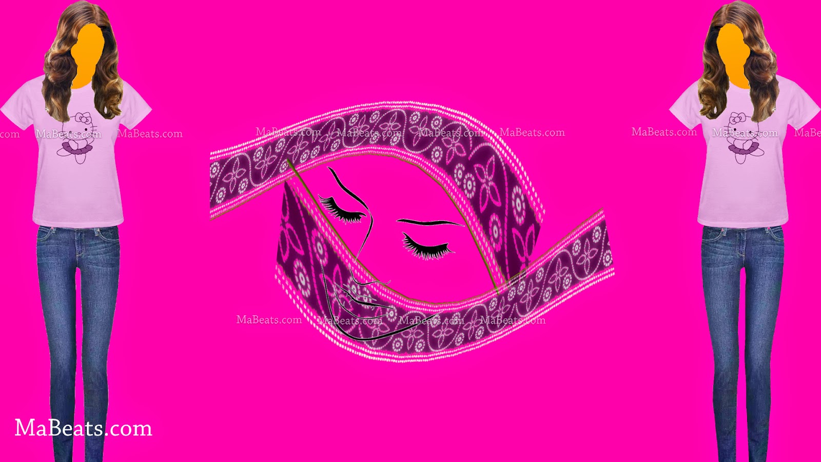 What if all women wear a fully covered dress like burka, pink background, women wearing t-shirt and jeans