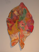 "Nuno Felted & Stitched ""Fish in the Abstract"" Wall Hanging"