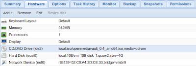 Pengaturan hardware Proxmox 2.3