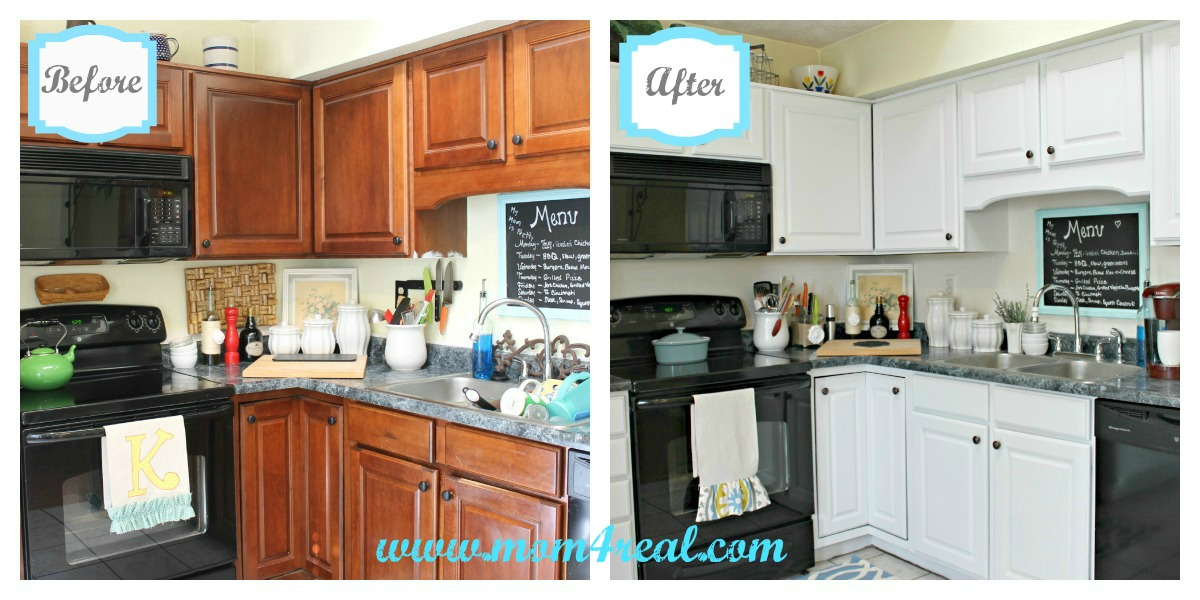 White kitchen reveal a before after mom 4 real for Painting wood cabinets white before and after