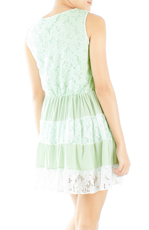 Mint Sugar Sweet Tiered Lace Dress