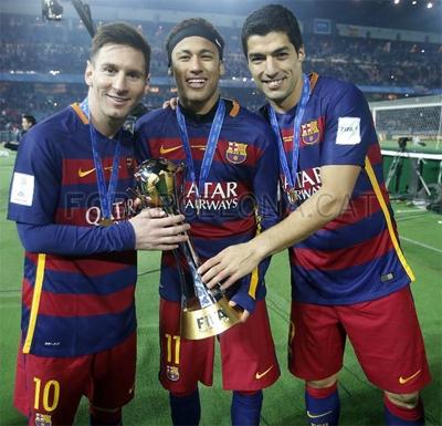 jugadores del barcelona Messi Luis Suárez Neymar Campeones del Mundo de Clubes