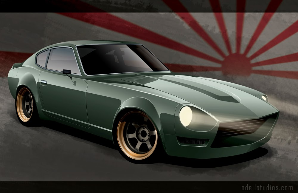 digital art 240z illustration rendering