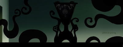 Vintage style mock-up Cthulu-esque tentacle lamp to be released for Halloween 2014 from Bindlegrim holiday art and design