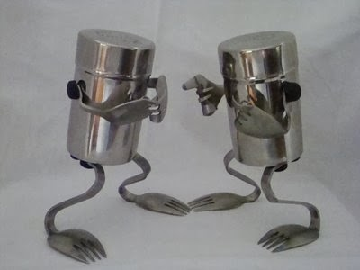 A Steel Salt and Pepper Shakers