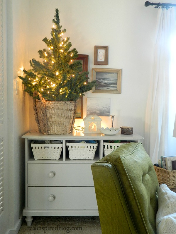 Rustic Green and Neutral Christmas Home Tour 2015 with small tree and nativity