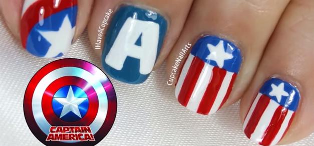 Nail Art estilo Capitán América