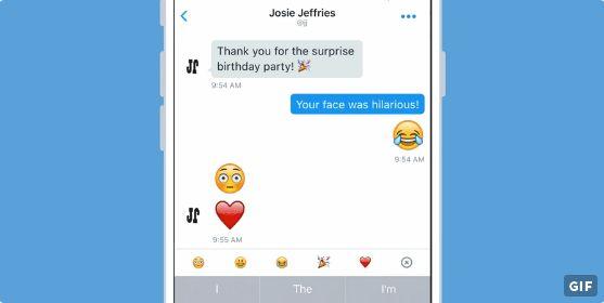 اول تحديثات و تغييرات تويتر منذ إستلام جاك دورسي منصب الرئيسي التنفيذي للشركة كان إضافة رموز تعبيرية كبيرة الحجم عبر الرسائل الخاصة
