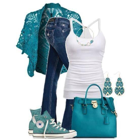 Blue lace jacket, white blouse, jeans, blue hand bag and snikers for ladies