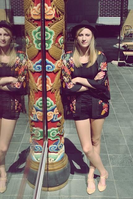 H&M printed kimono, H&M kimono H&M floral kimono, floral kimono, zara nude flats, nude flats, fedora hat