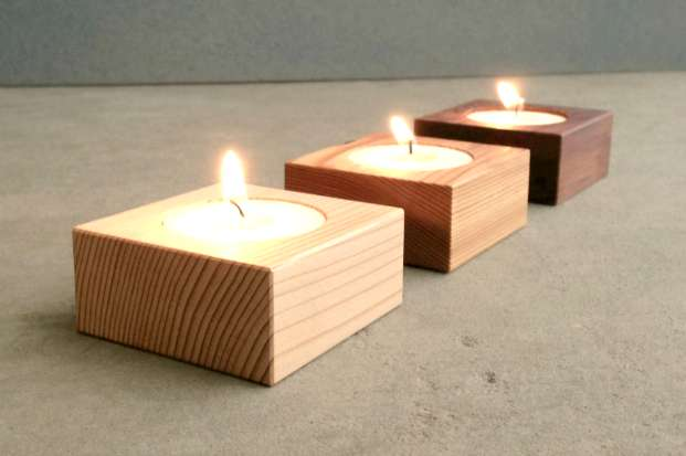 modern wood candle holders