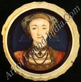 Miniature portraits, Holbein was a skilled miniature painter as this portrait of Anne of Cleves attests. But whereas contemporary miniaturists such as Lucas' Hornebolte worked in the tradition of medieval manuscript Holbein's miniatures were scaled-down Renaissance portraits.