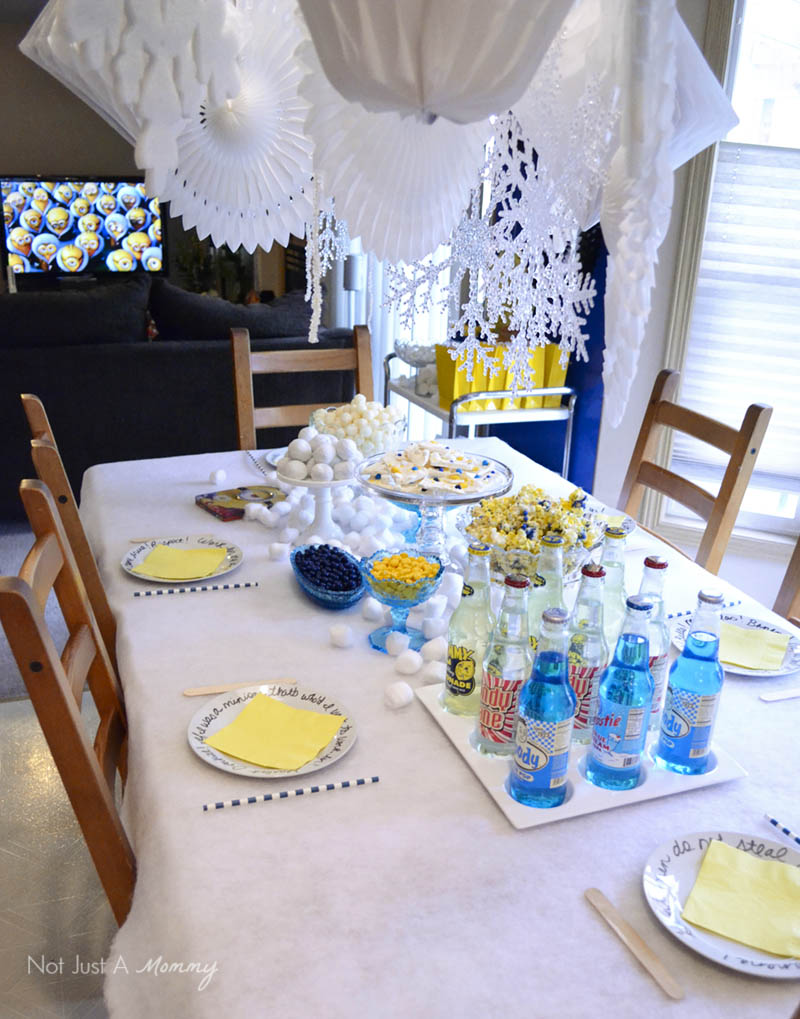 Minions Winter Yeti-land Movie Watching Party table