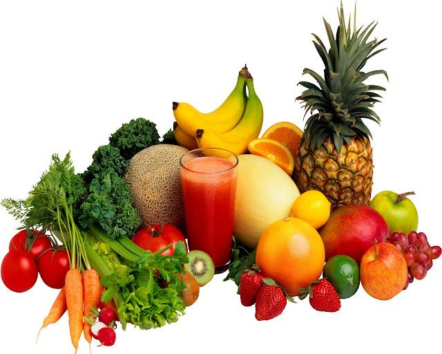 fresh raw fruits & vegetables