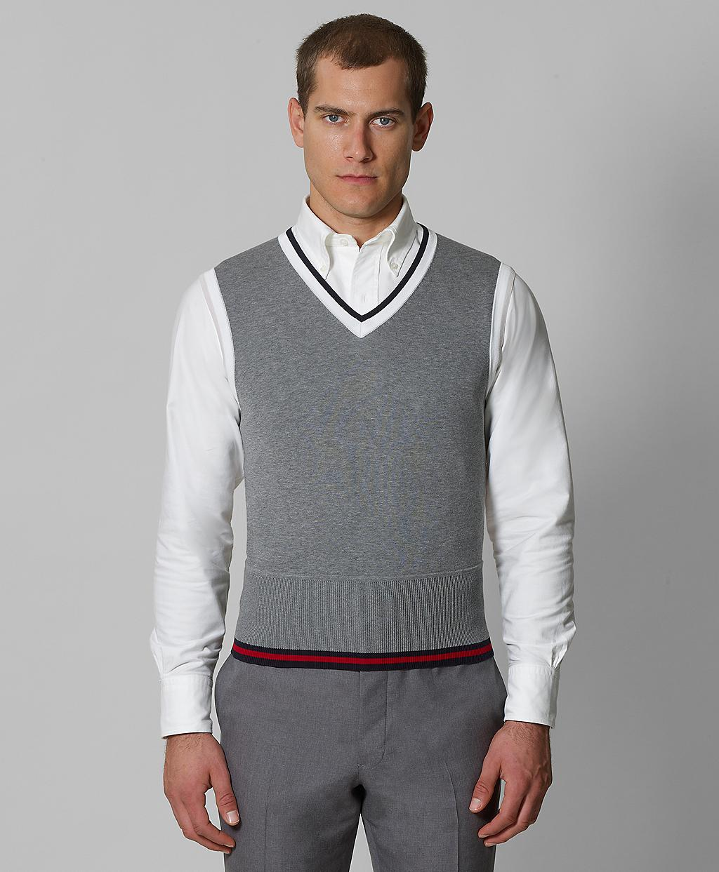 How to wear grey sweater vest