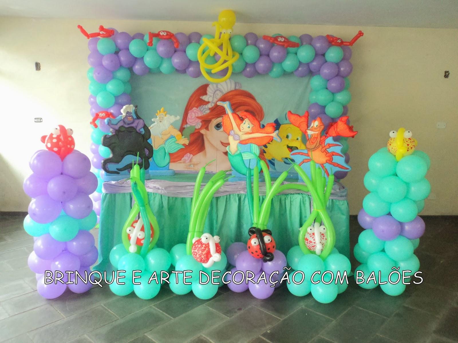 Brinque e arte decoraç u00e3o com balões DECORA u00c7ÃO TEMA ARIEL PEQUENA SEREIA -> Decoração De Pequena Sereia Simples