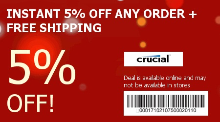 Never miss a single coupon for Crucial! people saving now.