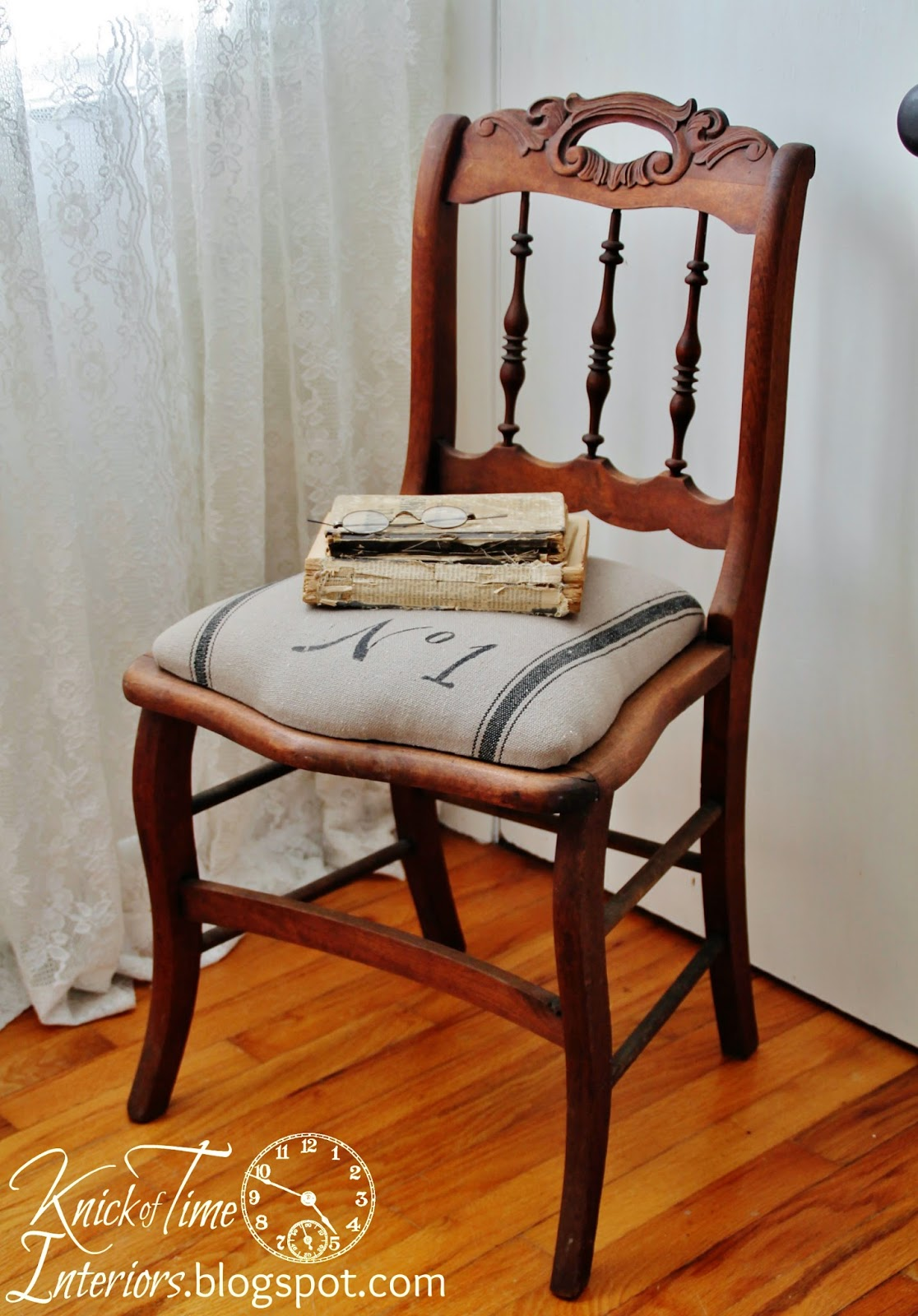 Grain-sack-fabric-on-antique-chair