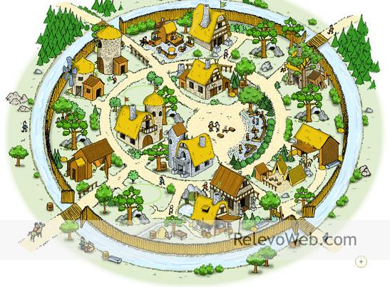Relevo formando una aldea en el juego online Travian