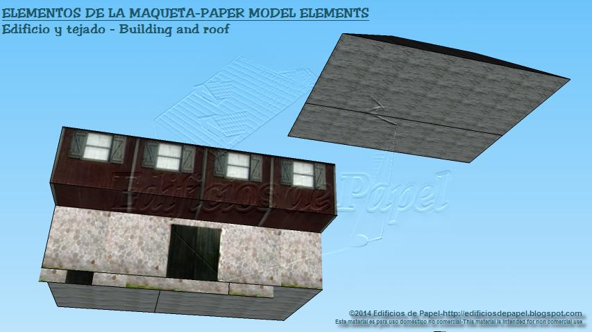 Elementos de la maqueta: edificio y tejado