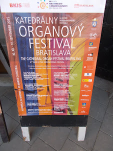"""Advertyisement of """"CATHEDRAL ORGAN CONCERTS"""" at St Martins Cathedral in Bratislava."""