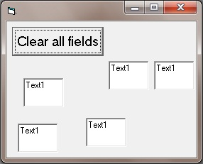 Screenshot of a program that clears a group of textbox controls