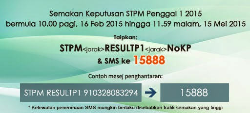 semakan keputusan spm melalui sms