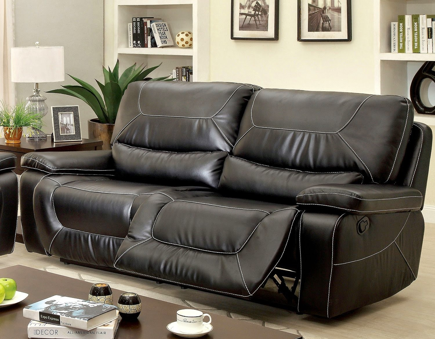 Sofa Recliner Reviews: Black Leather 2 Seater Recliner Sofa