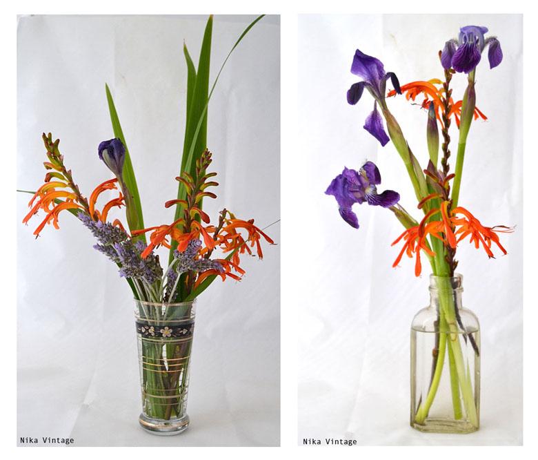 arreglo floral, ramo, flores, alelies, lirio, iris, bulbos, botellas antiguas, vaso, diy,