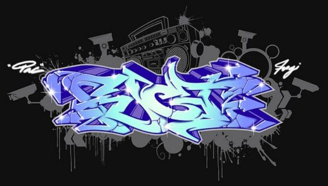 3D Graffiti Alphabet Letters Blue