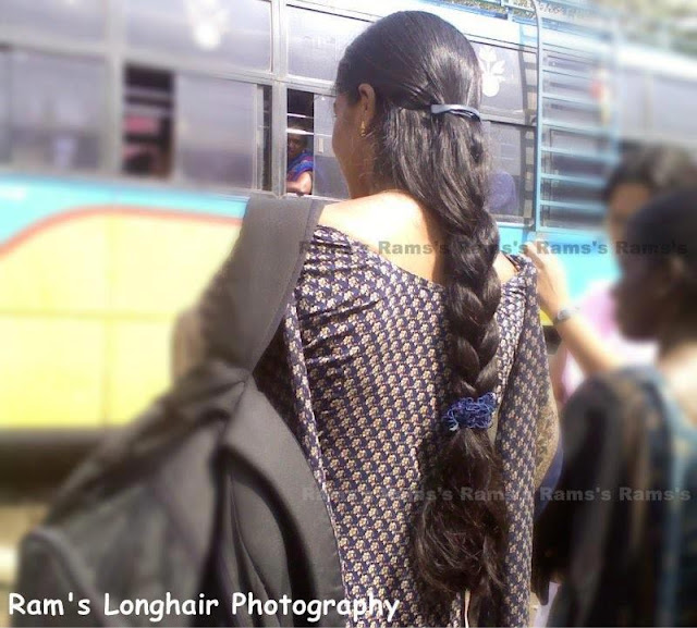 Trichy long hair girl at bus stop.