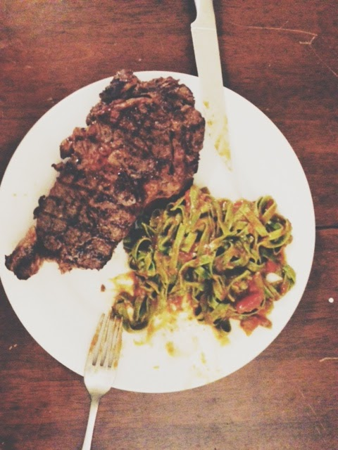 manly steak dinner with pasta