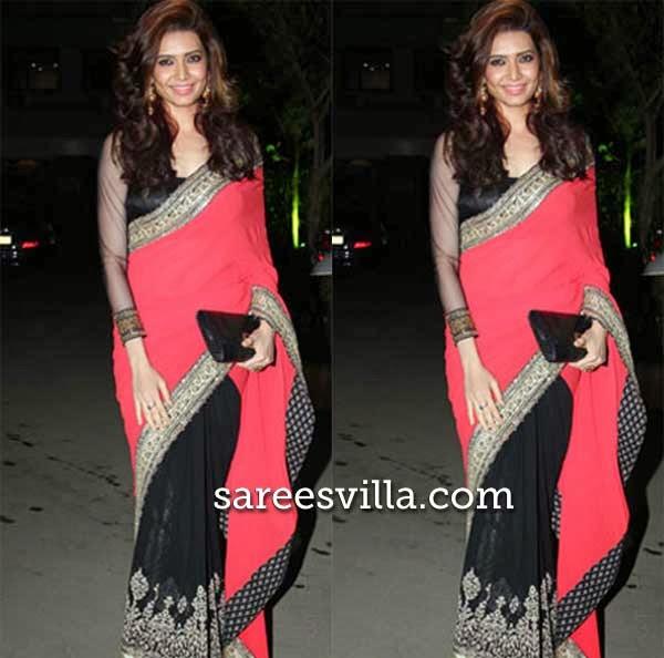 Karishma Tanna In Red And Black Saree