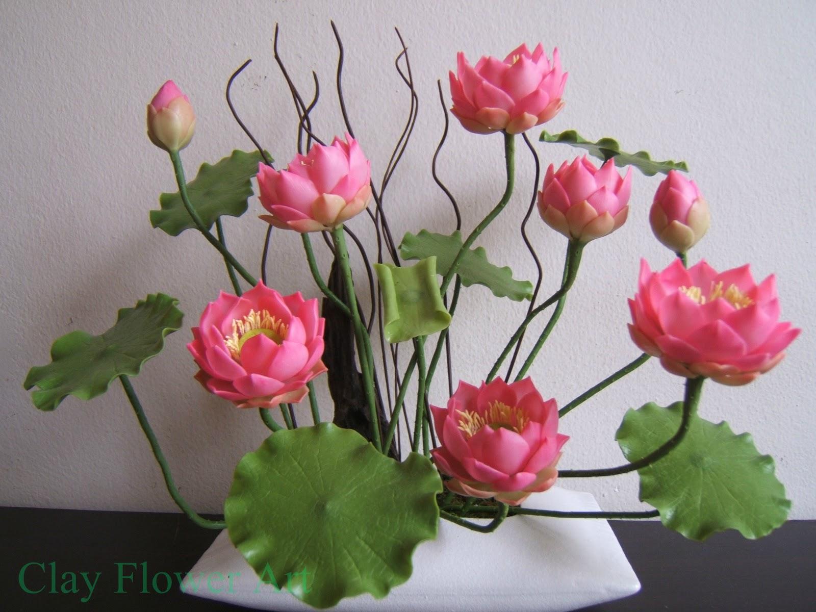 Lotus clay flower art lotus izmirmasajfo