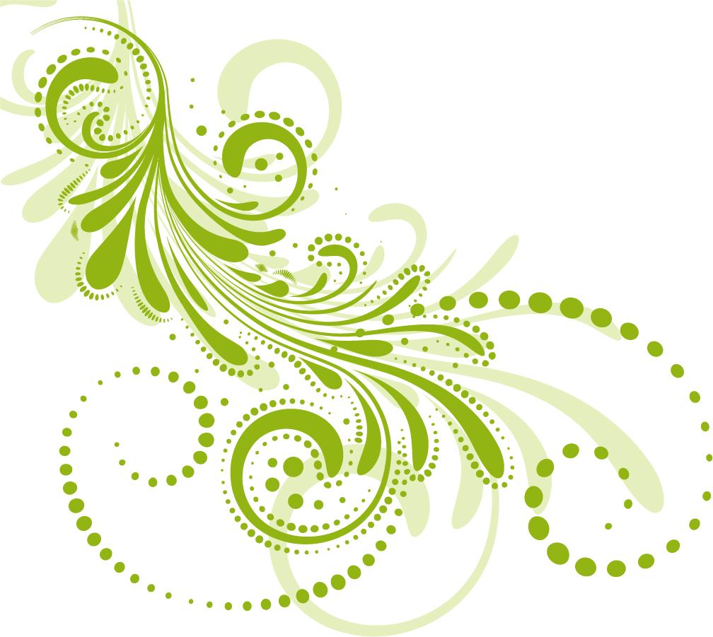 流線形の植物柄パターン Beautiful Floral Pattern イラスト素材