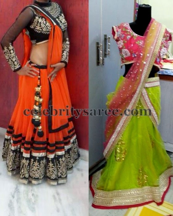 Latest Colorful Half Sarees in Net